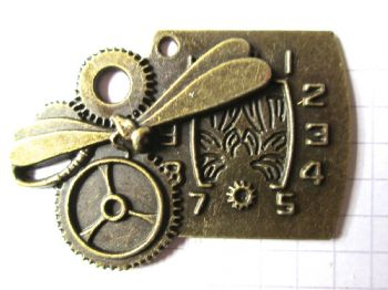 Bronze CLOCK Pendant/Charm with Dragonfly.  Steampunk
